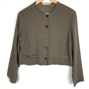 GIORGIO ARMANI blouse 10 black brown chevron t402